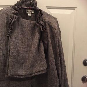 Gray ruffled suit ( skirt & jacket ) NWT sz 24